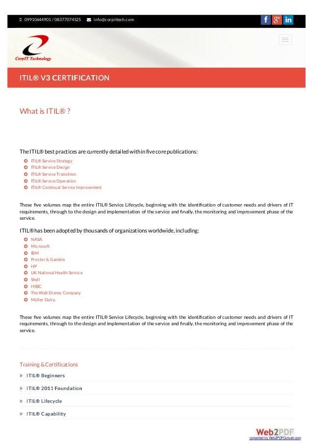 Itil Certification In Delhi Ncr Itil V3 Training In Delhi Ncr