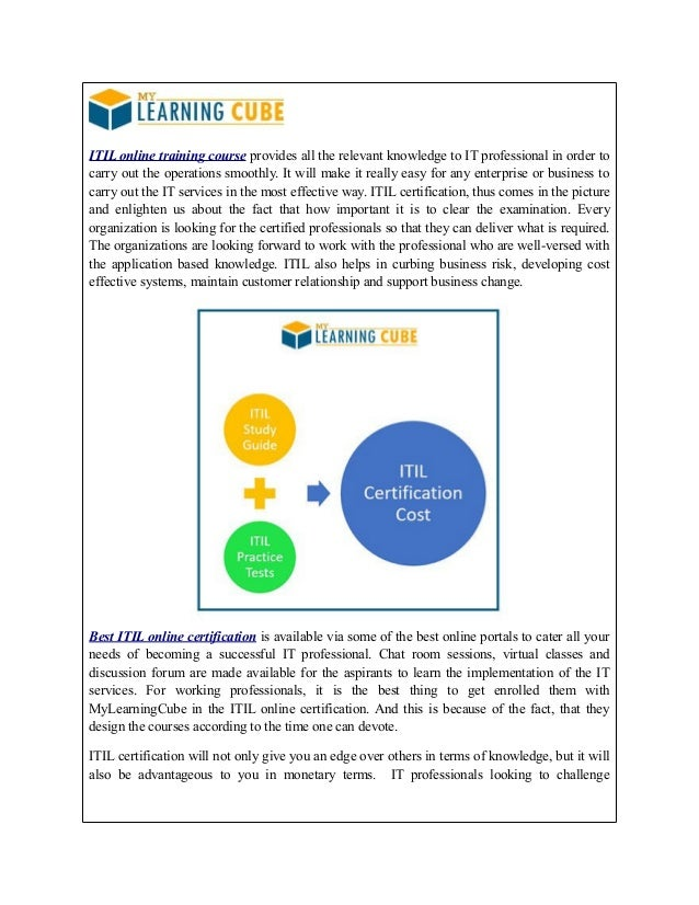 Itil Certification Training Online Mylearningcube