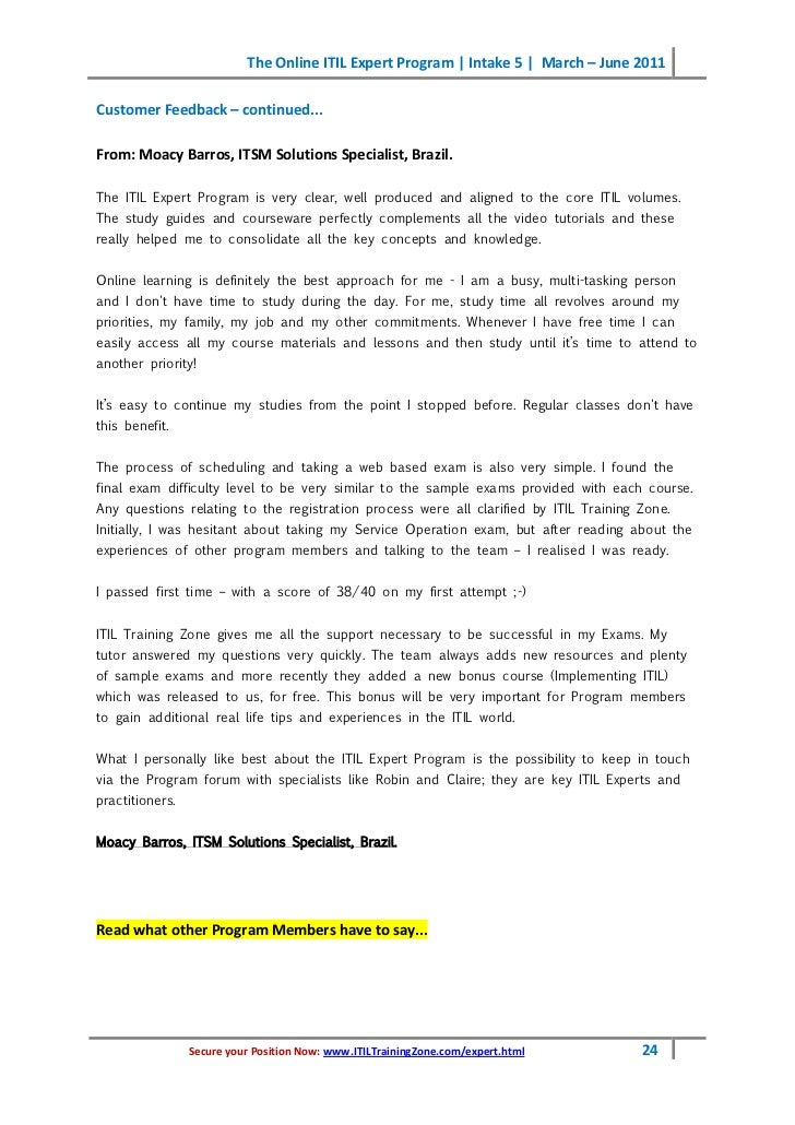 ITILTrainingZone.com/expert.html 23; 24. The Online ITIL ...