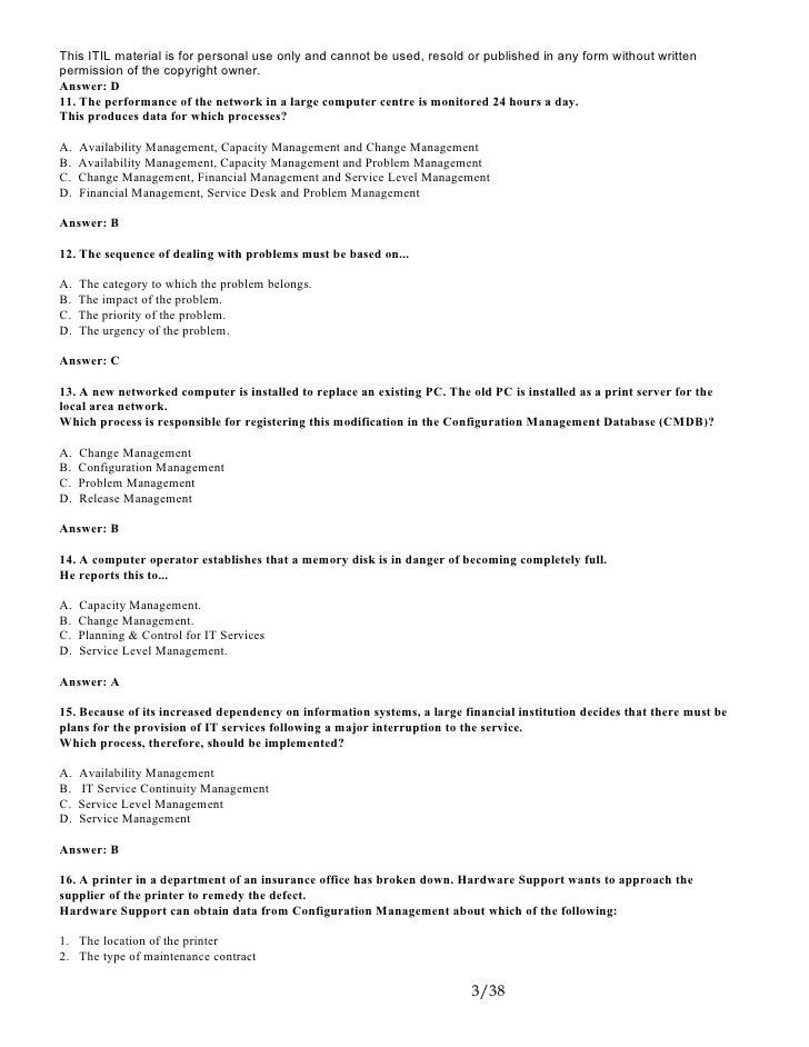itil foundation sample exam pdf