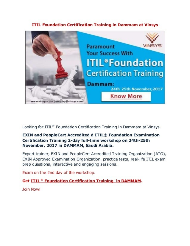 Itil Foundation Certification Training In Dammam At Vinsys