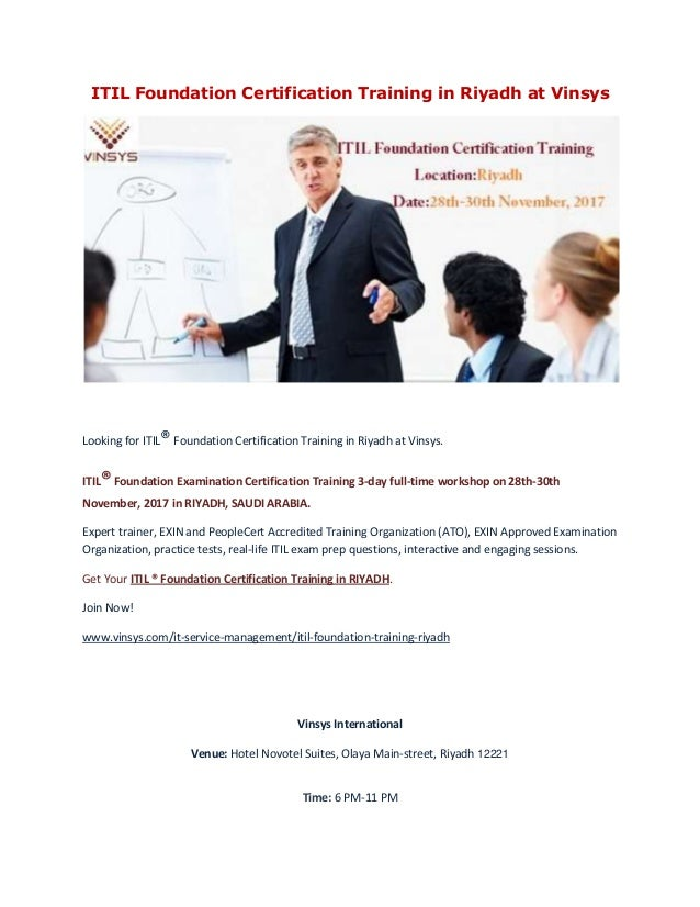 Itil Foundation Certification Training In Riyadh Vinsys