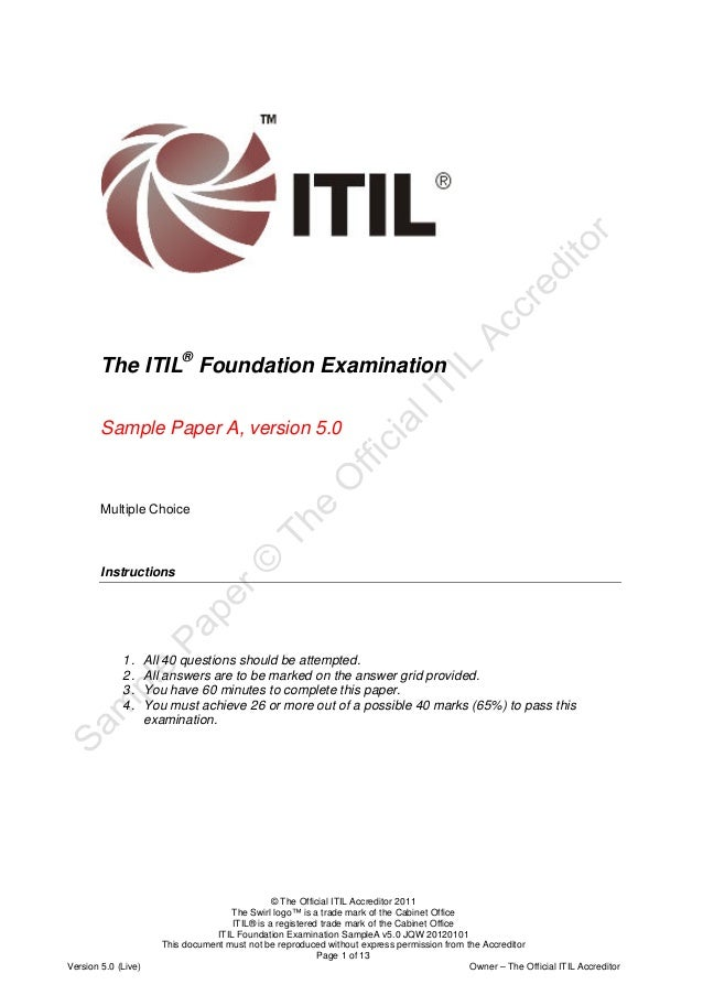 Itil Foundation Examinationsampleav50jqw20120101