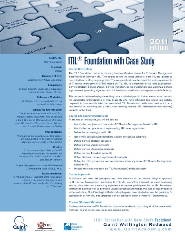 Itil Foundation With Case Study 2011 Edition