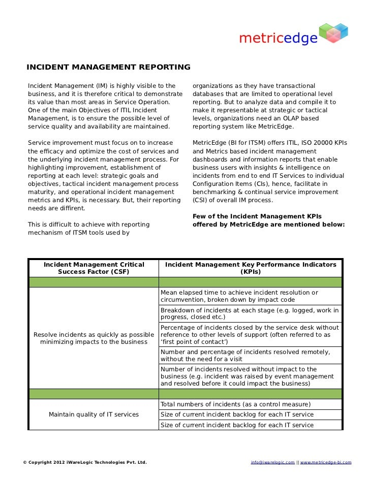 Itil Incident Management Reports Incident Management Reporting Inc