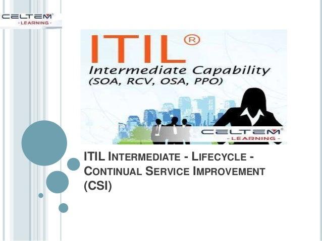 ITIL INTERMEDIATE - LIFECYCLE - CONTINUAL SERVICE IMPROVEMENT (CSI)