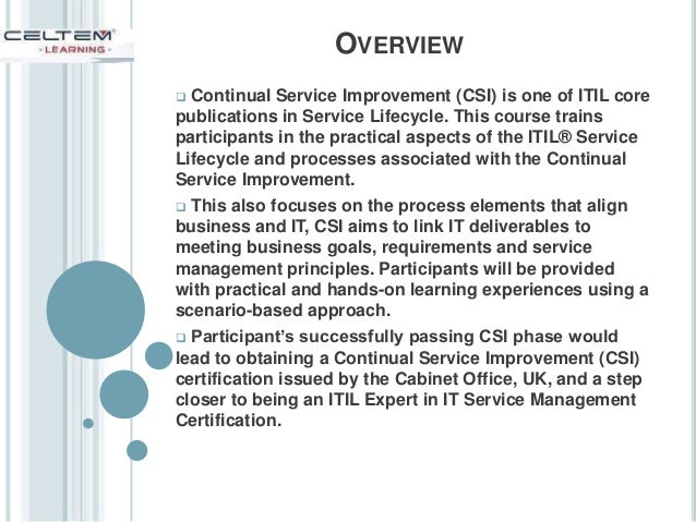 itil intermediate lifecycle continual service improvement csi c. Black Bedroom Furniture Sets. Home Design Ideas