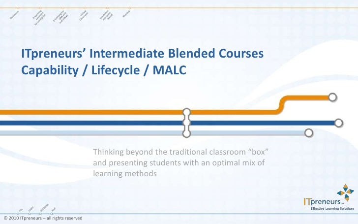 "ITpreneurs' Intermediate Blended CoursesCapability / Lifecycle / MALC<br />Thinking beyond the traditional classroom ""box""..."