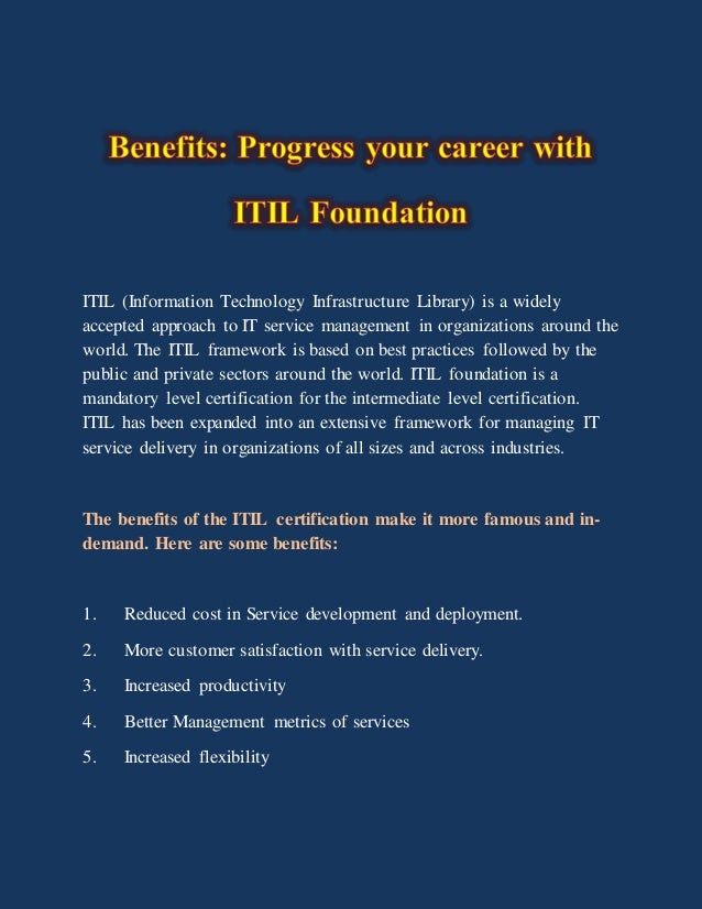Benefits Progress Your Career With Itil Foundation