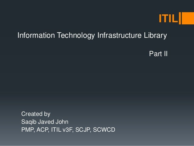 Information Technology Infrastructure Library Created by Saqib Javed John PMP, ACP, ITIL v3F, SCJP, SCWCD ITIL Part II