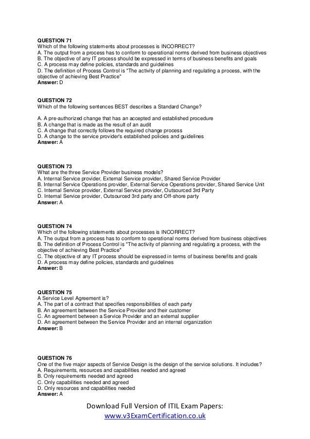 Itil Foundation Certification Exam Itil Certification Online