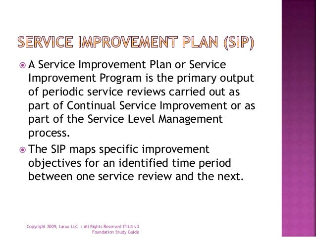 continuous service improvement plan template - itil v3 foundation study guide continual service improvement