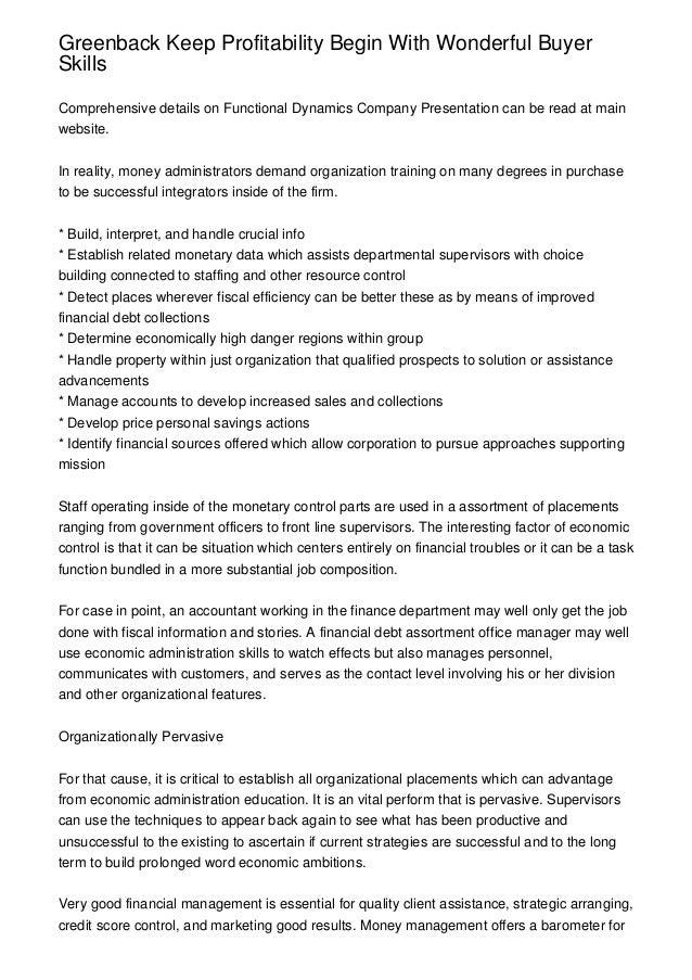 Greenback Keep Profitability Begin With Wonderful BuyerSkillsComprehensive details on Functional Dynamics Company Presenta...