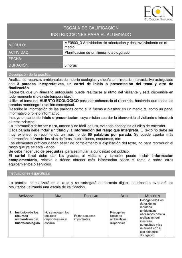 ESCALA DE CALIFICACI�N INSTRUCCIONES PARA EL ALUMNADO M�DULO: MF0803_3 Actividades de orientaci�n y desenvolvimiento en el...
