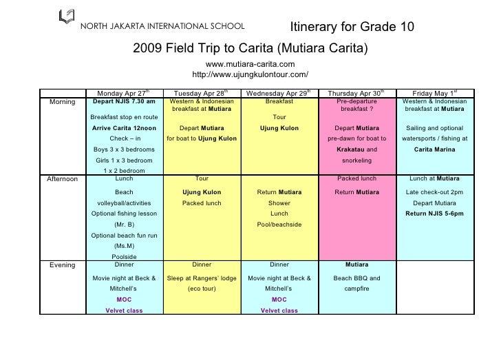Class Trip Itinerary