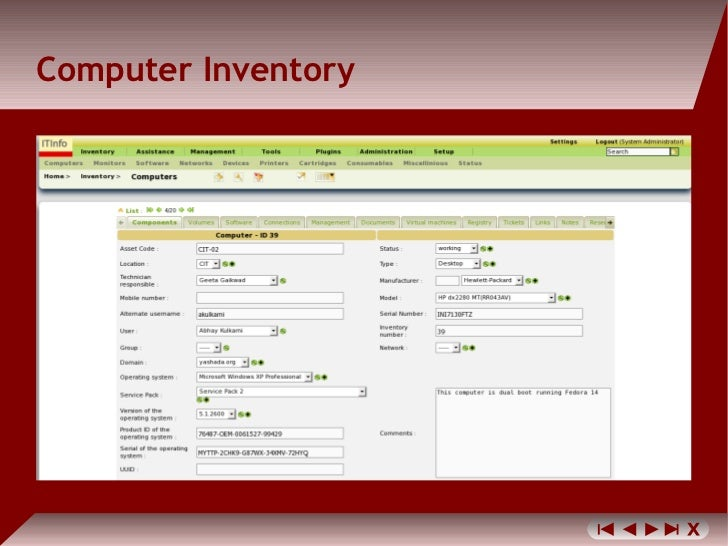 inventory of computer