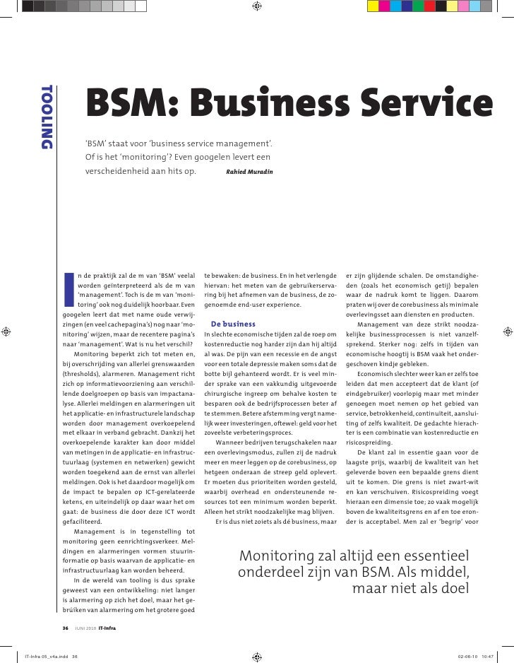TOOLING                              BSM: Business Service                           'BSM' staat voor 'business service ma...