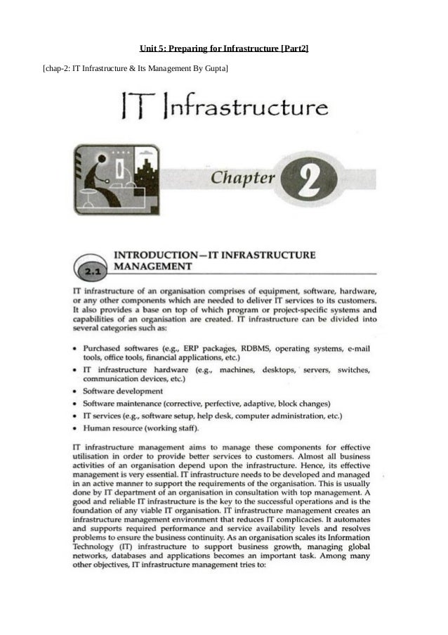 Unit 5: Preparing for Infrastructure [Part2] [chap-2: IT Infrastructure & Its Management By Gupta]