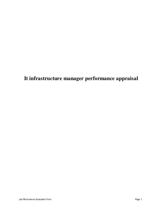 Job Performance Evaluation Form Page 1 It Infrastructure Manager  Performance Appraisal ...