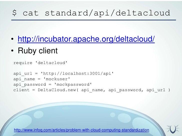 $ cat standard/api/deltacloud<br />http://incubator.apache.org/deltacloud/<br />Ruby client<br />require 'deltacloud' <br ...