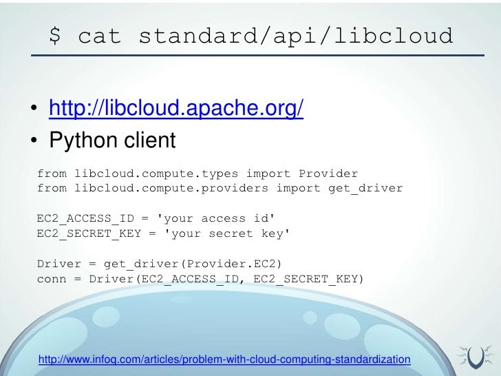 $ cat standard/api/libcloud<br />http://libcloud.apache.org/<br />Python client<br />from libcloud.compute.types import Pr...