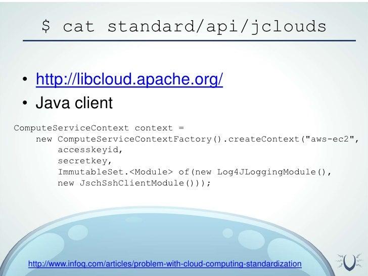 $ cat standard/api/jclouds<br />http://libcloud.apache.org/<br />Java client<br />ComputeServiceContext context = <br />  ...