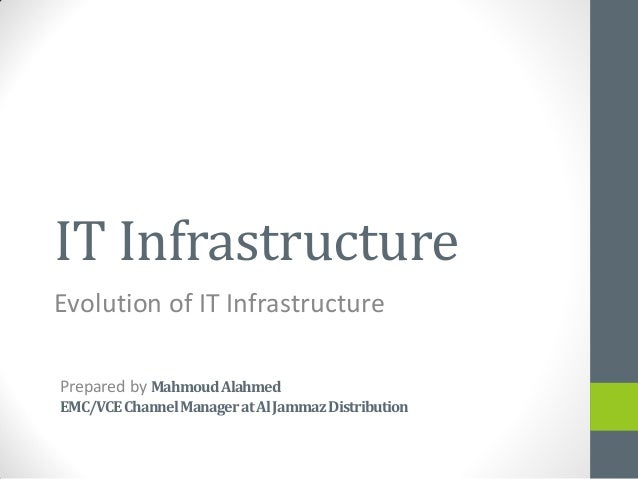 IT Infrastructure Evolution of IT Infrastructure Prepared by MahmoudAlahmed EMC/VCEChannelManageratAlJammazDistribution
