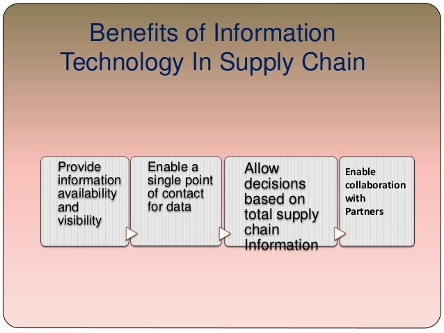 Use Of Technology Management: Use Of IT In Supply Chain Management
