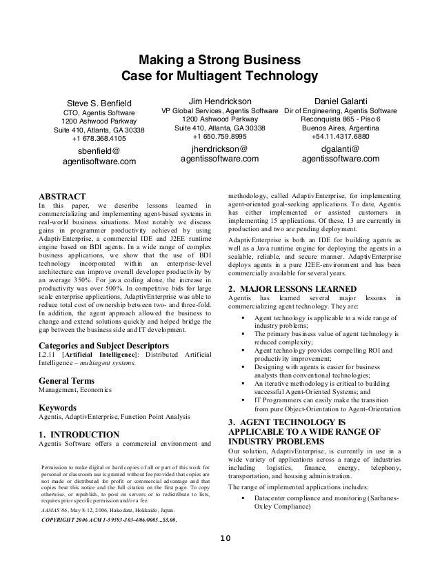 Making a Strong Business                                  Case for Multiagent Technology          Steve S. Benfield       ...