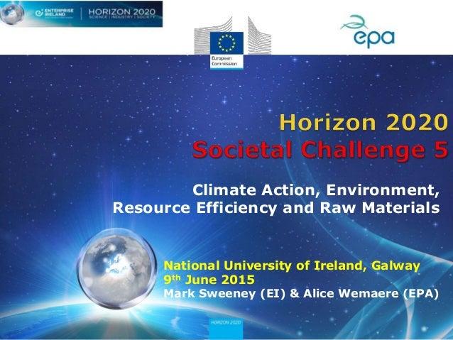 National University of Ireland, Galway 9th June 2015 Mark Sweeney (EI) & Alice Wemaere (EPA) Climate Action, Environment, ...