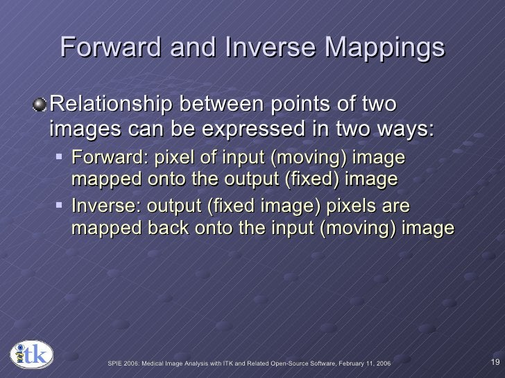 Forward and Inverse Mappings <ul><li>Relationship between points of two images can be expressed in two ways: </li></ul><ul...