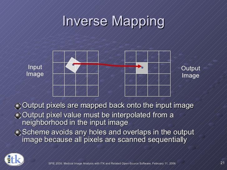 Inverse Mapping <ul><li>Output pixels are mapped back onto the input image </li></ul><ul><li>Output pixel value must be in...