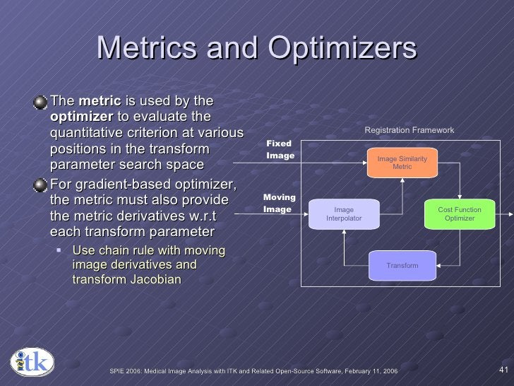 Metrics and Optimizers <ul><li>The  metric  is used by the  optimizer  to evaluate the quantitative criterion at various p...