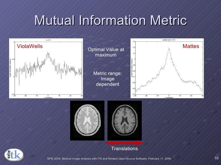 Mutual Information Metric ViolaWells Mattes Optimal Value at maximum Metric range: Image dependent Translations