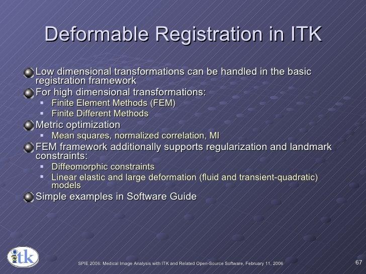 Deformable Registration in ITK <ul><li>Low dimensional transformations can be handled in the basic registration framework ...
