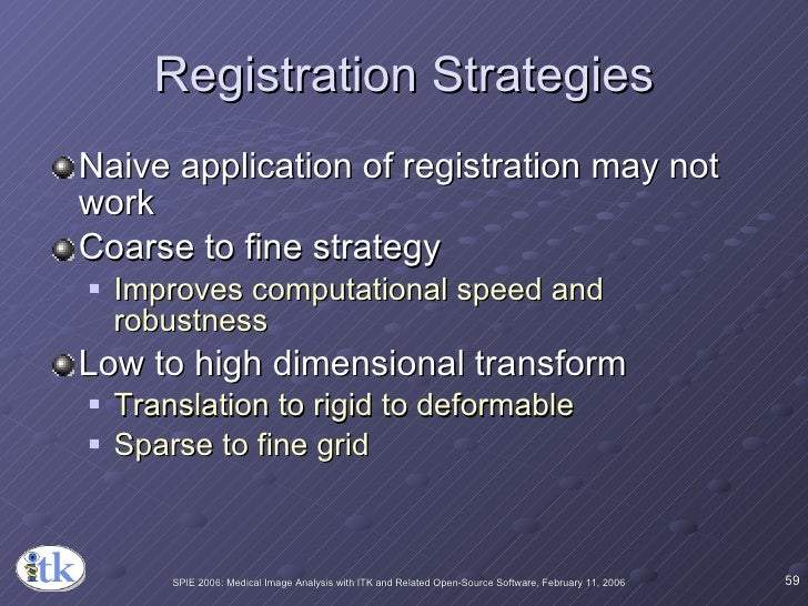 Registration Strategies <ul><li>Naive application of registration may not work </li></ul><ul><li>Coarse to fine strategy <...