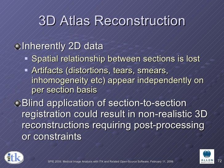 3D Atlas Reconstruction <ul><li>Inherently 2D data </li></ul><ul><ul><li>Spatial relationship between sections is lost </l...