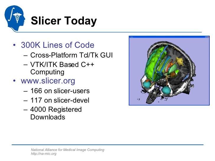 Slicer Today <ul><li>300K Lines of Code </li></ul><ul><ul><li>Cross-Platform Tcl/Tk GUI </li></ul></ul><ul><ul><li>VTK/ITK...