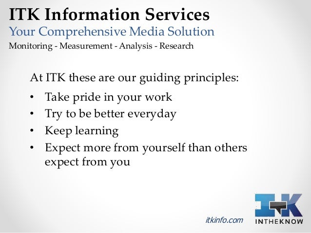 ITK Information Services  Your Comprehensive Media Solution  Monitoring - Measurement - Analysis - Research  At ITK these ...