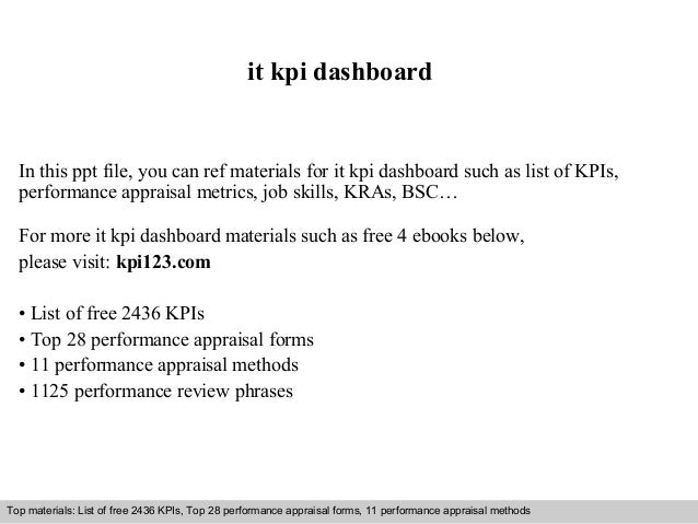 it kpi dashboard  In this ppt file, you can ref materials for it kpi dashboard such as list of KPIs,  performance appraisa...