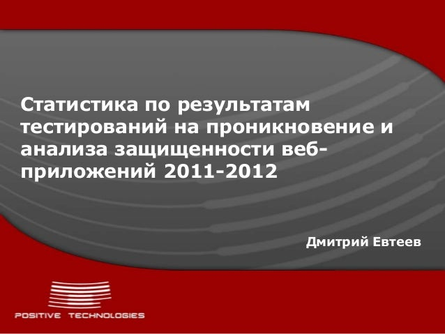 Статистика по результатамтестирований на проникновение ианализа защищенности веб-приложений 2011-2012Дмитрий Евтеев