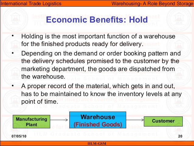 07/05/10 20 • Holding is the most important function of a warehouse for the finished products ready for delivery. • Depend...