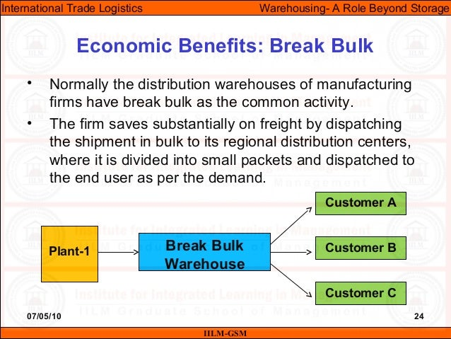 07/05/10 24 • Normally the distribution warehouses of manufacturing firms have break bulk as the common activity. • The fi...
