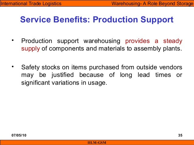 07/05/10 35 • Production support warehousing provides a steady supply of components and materials to assembly plants. • Sa...