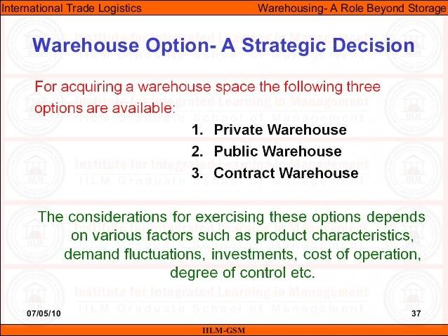 07/05/10 37 Warehouse Option- A Strategic Decision IILM-GSM International Trade Logistics Warehousing- A Role Beyond Stora...