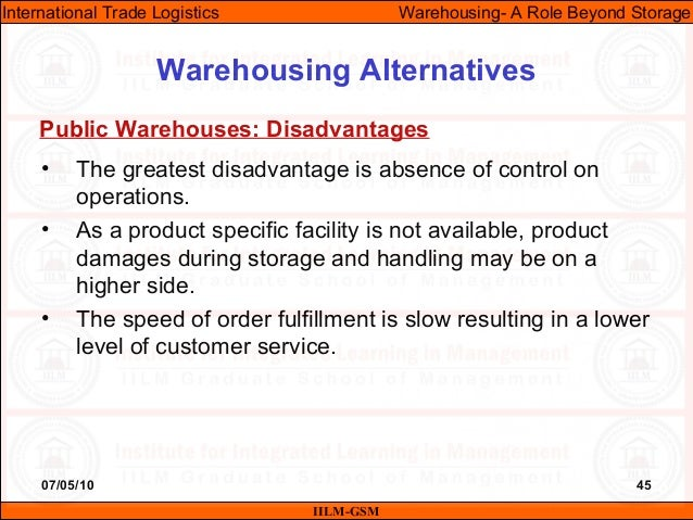 07/05/10 45 • The greatest disadvantage is absence of control on operations. • As a product specific facility is not avail...