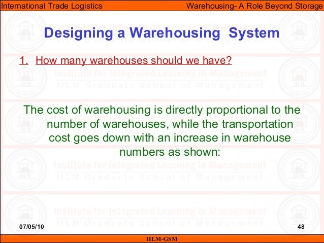 07/05/10 48 1. How many warehouses should we have? The cost of warehousing is directly proportional to the number of wareh...