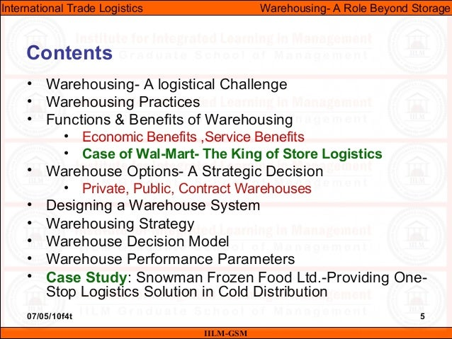 07/05/10f4t 5 Contents • Warehousing- A logistical Challenge • Warehousing Practices • Functions & Benefits of Warehousing...