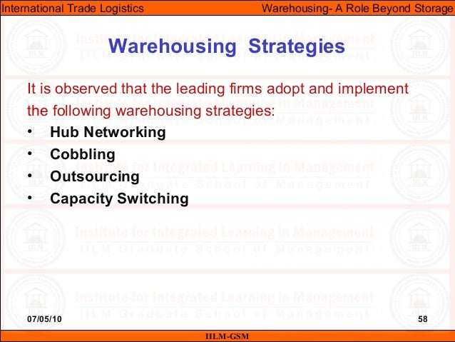 07/05/10 58 It is observed that the leading firms adopt and implement the following warehousing strategies: • Hub Networki...