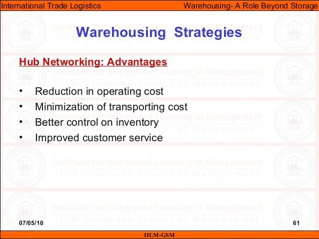 07/05/10 61 Hub Networking: Advantages • Reduction in operating cost • Minimization of transporting cost • Better control ...